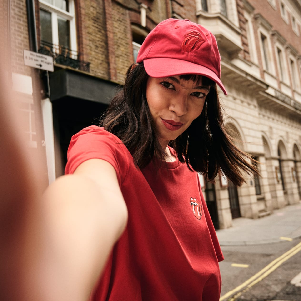 Stones Red Tongue Dad Cap